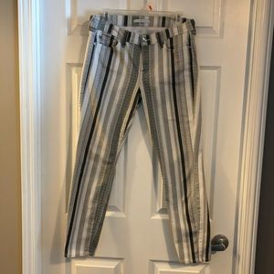 7 for all mankind white/ grey stripe jeans Sz 28